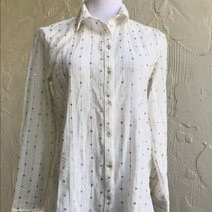 Feather bone Anthro button up sequin shirt Small